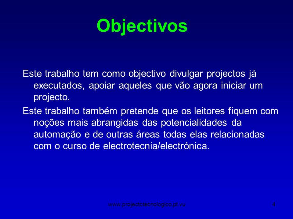 www.projectotecnologico.pt.vu4 Este trabalho tem como objectivo divulgar projectos já executados, apoiar aqueles que vão agora iniciar um projecto.