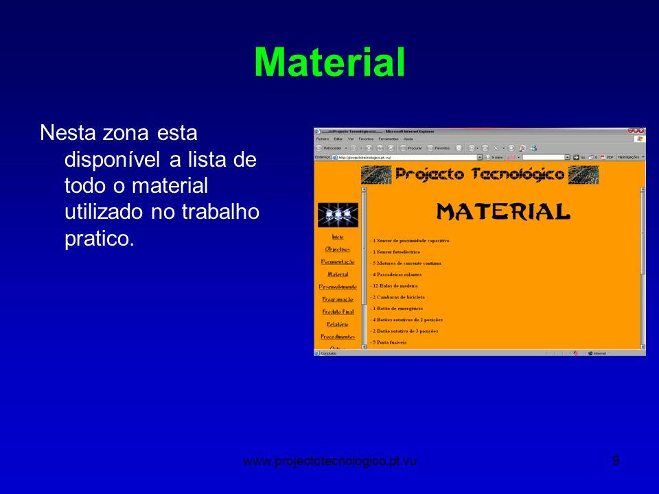www.projectotecnologico.pt.vu9 Material Nesta zona esta disponível a lista de todo o material utilizado no trabalho pratico.
