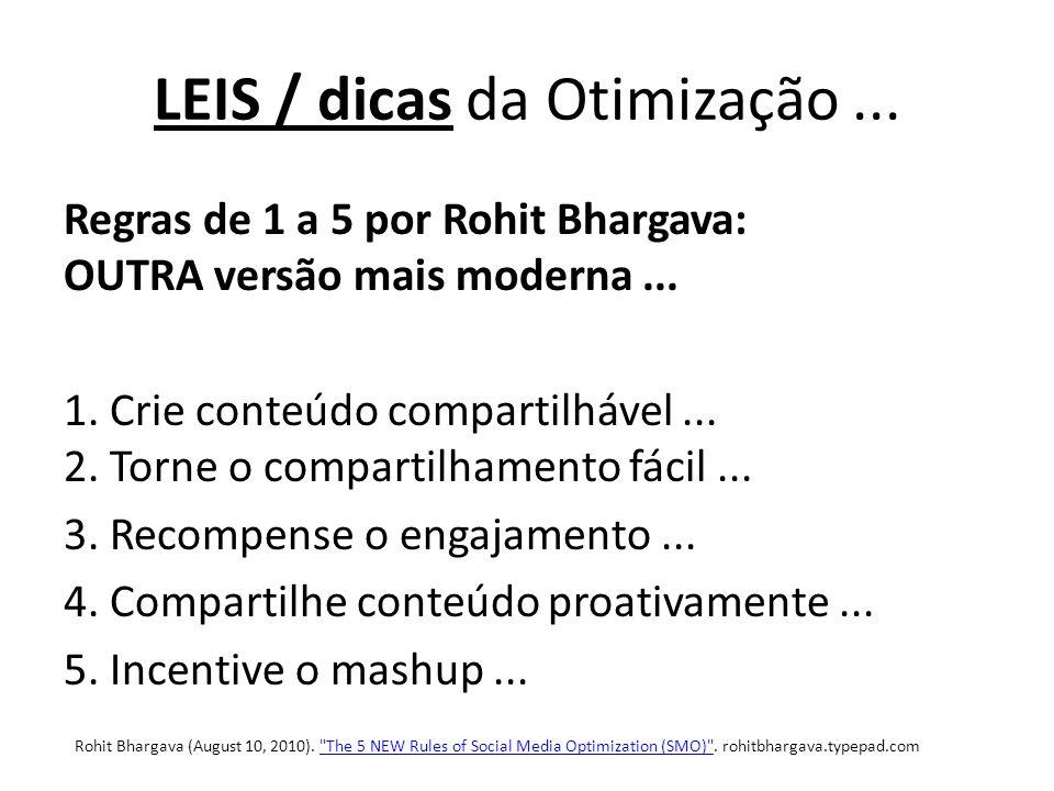LEIS / dicas da Otimização... Regras de 1 a 5 por Rohit Bhargava: OUTRA versão mais moderna...
