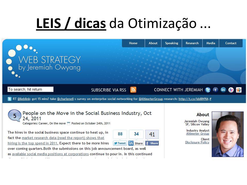 LEIS / dicas da Otimização...