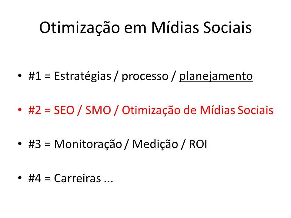 Otimização em Mídias Sociais #1 = Estratégias / processo / planejamento #2 = SEO / SMO / Otimização de Mídias Sociais #3 = Monitoração / Medição / ROI #4 = Carreiras...