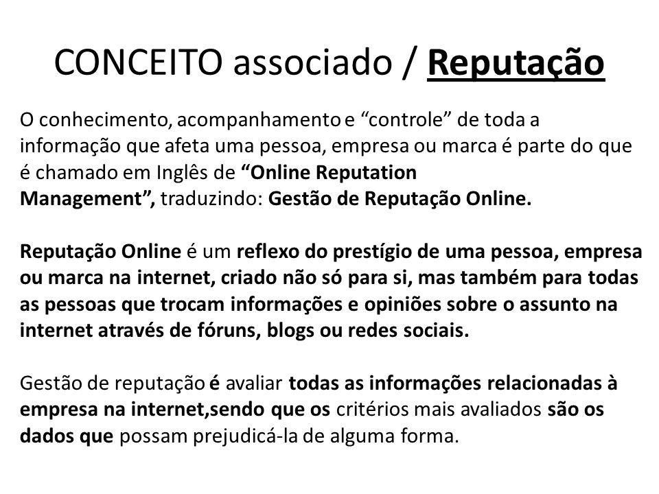 CONCEITO associado / Reputação O conhecimento, acompanhamento e controle de toda a informação que afeta uma pessoa, empresa ou marca é parte do que é chamado em Inglês de Online Reputation Management , traduzindo: Gestão de Reputação Online.