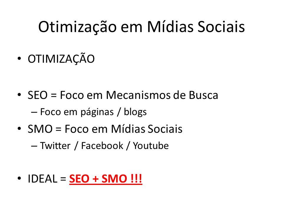 Otimização em Mídias Sociais OTIMIZAÇÃO SEO = Foco em Mecanismos de Busca – Foco em páginas / blogs SMO = Foco em Mídias Sociais – Twitter / Facebook / Youtube IDEAL = SEO + SMO !!!