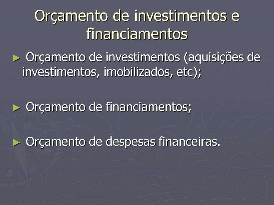 Orçamento de investimentos e financiamentos ► Orçamento de investimentos (aquisições de investimentos, imobilizados, etc); ► Orçamento de financiamentos; ► Orçamento de despesas financeiras.