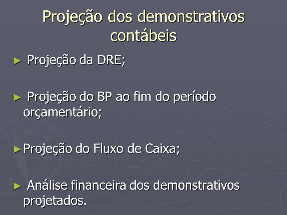 Projeção dos demonstrativos contábeis ► Projeção da DRE; ► Projeção do BP ao fim do período orçamentário; ► Projeção do Fluxo de Caixa; ► Análise financeira dos demonstrativos projetados.