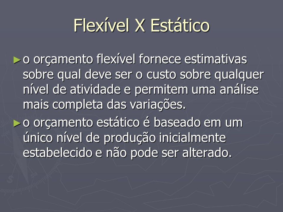 Flexível X Estático ► o orçamento flexível fornece estimativas sobre qual deve ser o custo sobre qualquer nível de atividade e permitem uma análise mais completa das variações.