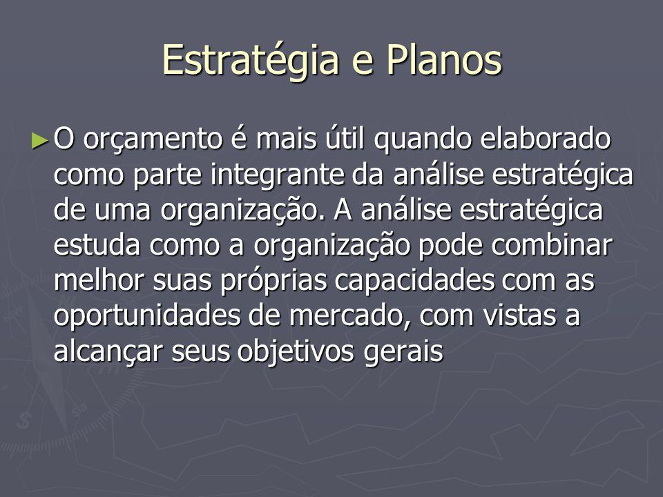 Estratégia e Planos ► O orçamento é mais útil quando elaborado como parte integrante da análise estratégica de uma organização.