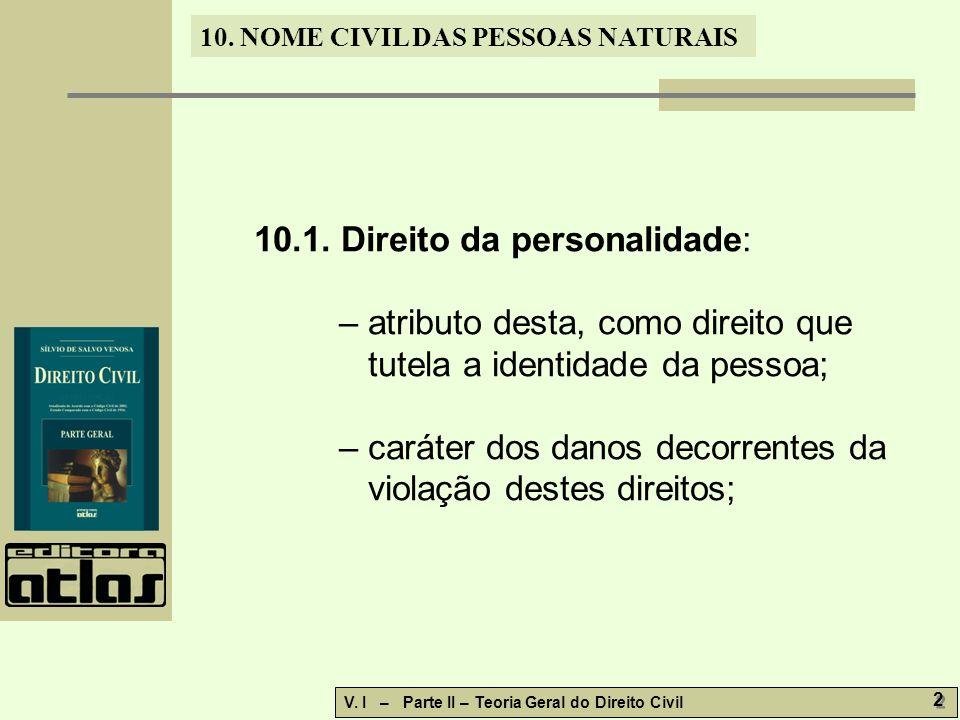 10. NOME CIVIL DAS PESSOAS NATURAIS V. I – Parte II – Teoria Geral do Direito Civil 2 2 10.1.