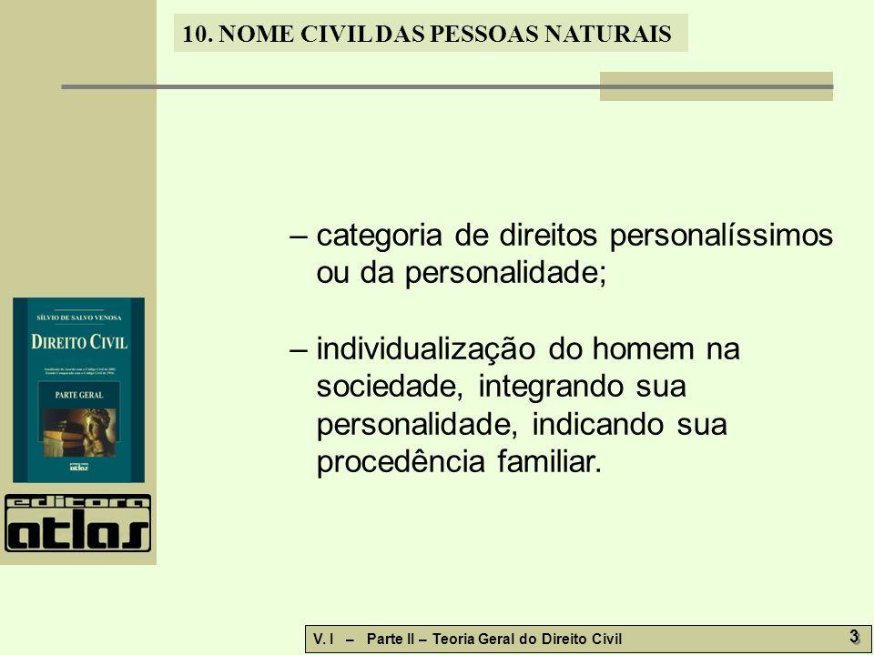 10. NOME CIVIL DAS PESSOAS NATURAIS V.