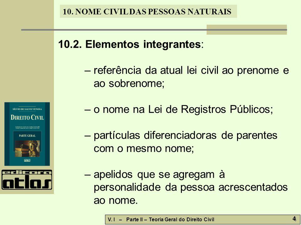 10. NOME CIVIL DAS PESSOAS NATURAIS V. I – Parte II – Teoria Geral do Direito Civil 4 4 10.2.