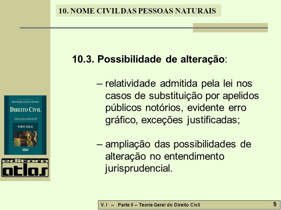 10. NOME CIVIL DAS PESSOAS NATURAIS V. I – Parte II – Teoria Geral do Direito Civil 5 5 10.3.