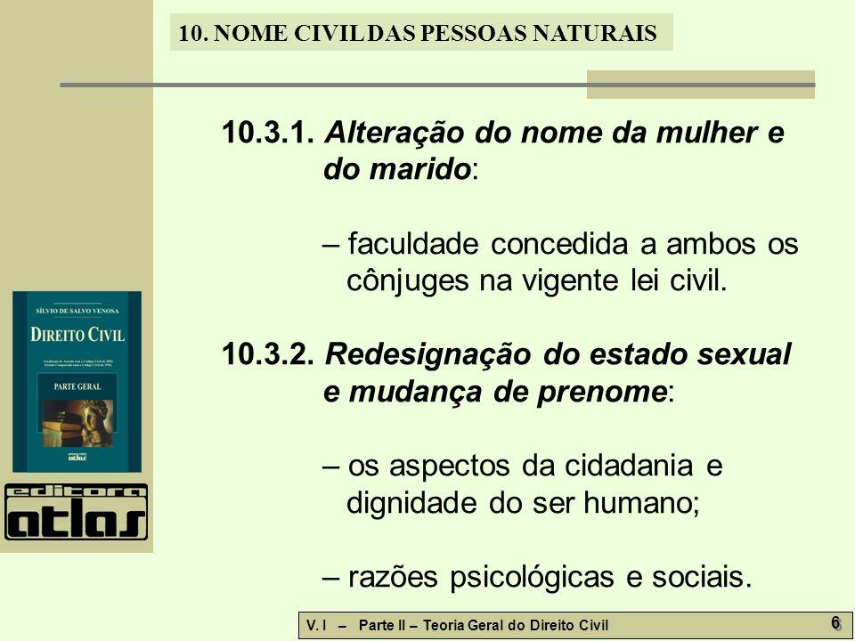 10. NOME CIVIL DAS PESSOAS NATURAIS V. I – Parte II – Teoria Geral do Direito Civil 6 6 10.3.1.