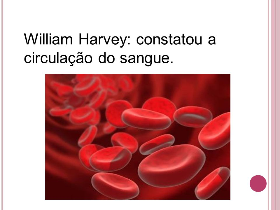 William Harvey: constatou a circulação do sangue.