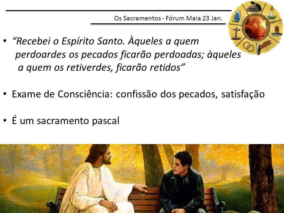 """""""Recebei o Espírito Santo. Àqueles a quem perdoardes os pecados ficarão perdoadas; àqueles a quem os retiverdes, ficarão retidos"""" Exame de Consciência"""