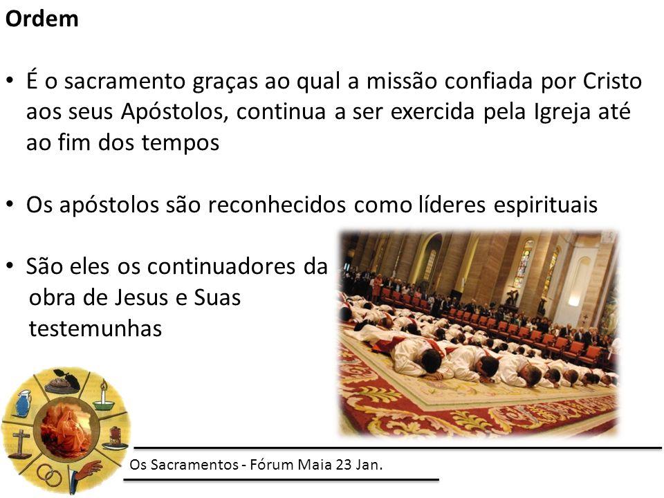Ordem É o sacramento graças ao qual a missão confiada por Cristo aos seus Apóstolos, continua a ser exercida pela Igreja até ao fim dos tempos Os após