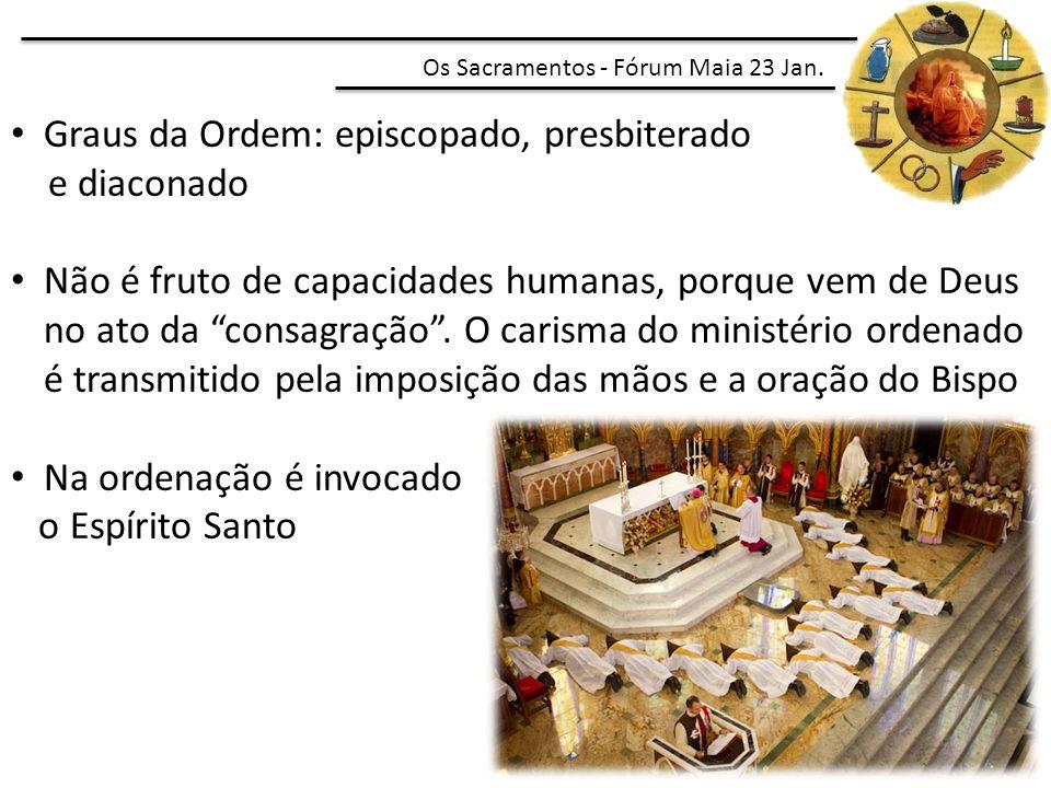 Graus da Ordem: episcopado, presbiterado e diaconado Não é fruto de capacidades humanas, porque vem de Deus no ato da consagração .