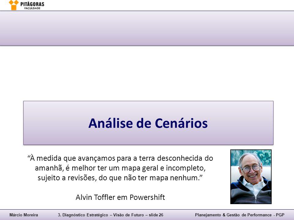 """Márcio Moreira3. Diagnóstico Estratégico – Visão de Futuro – slide 26Planejamento & Gestão de Performance - PGP Análise de Cenários """"À medida que avan"""