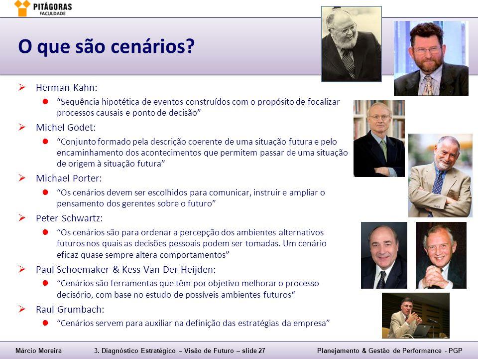 """Márcio Moreira3. Diagnóstico Estratégico – Visão de Futuro – slide 27Planejamento & Gestão de Performance - PGP O que são cenários?  Herman Kahn: """"Se"""