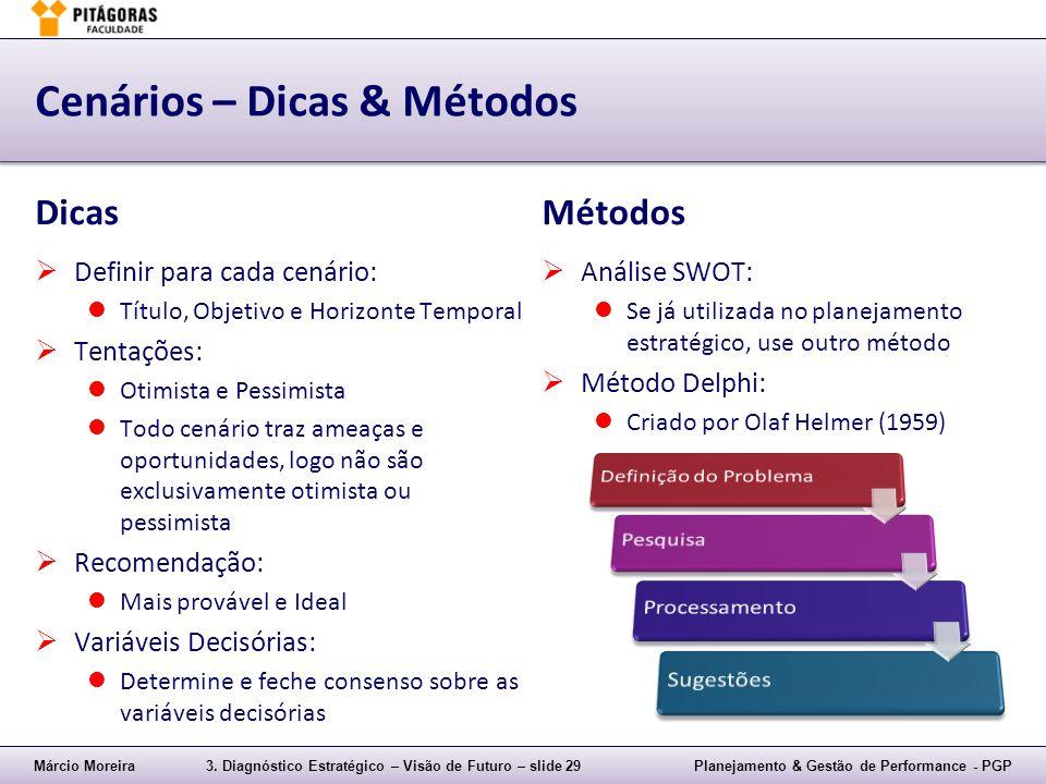 Márcio Moreira3. Diagnóstico Estratégico – Visão de Futuro – slide 29Planejamento & Gestão de Performance - PGP Cenários – Dicas & Métodos Dicas  Def