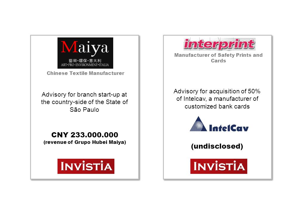 Chinese Textile Manufacturer Advisory for branch start-up at the country-side of the State of São Paulo CNY 233.000.000 (revenue of Grupo Hubei Maiya) Manufacturer of Safety Prints and Cards Advisory for acquisition of 50% of Intelcav, a manufacturer of customized bank cards (undisclosed)