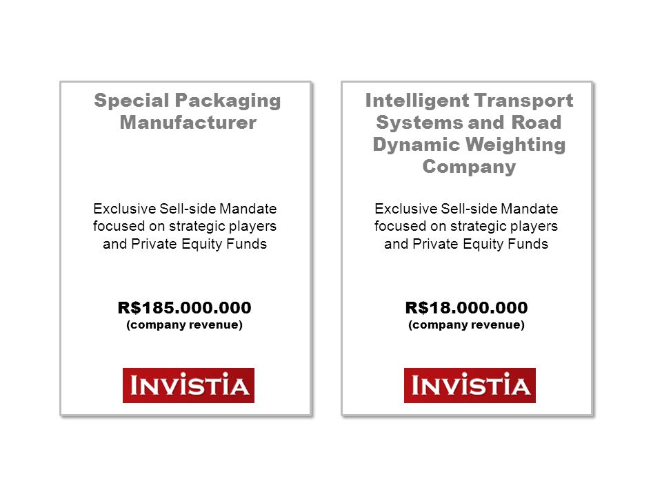 Special Packaging Manufacturer Exclusive Sell-side Mandate focused on strategic players and Private Equity Funds R$185.000.000 (company revenue) Intel