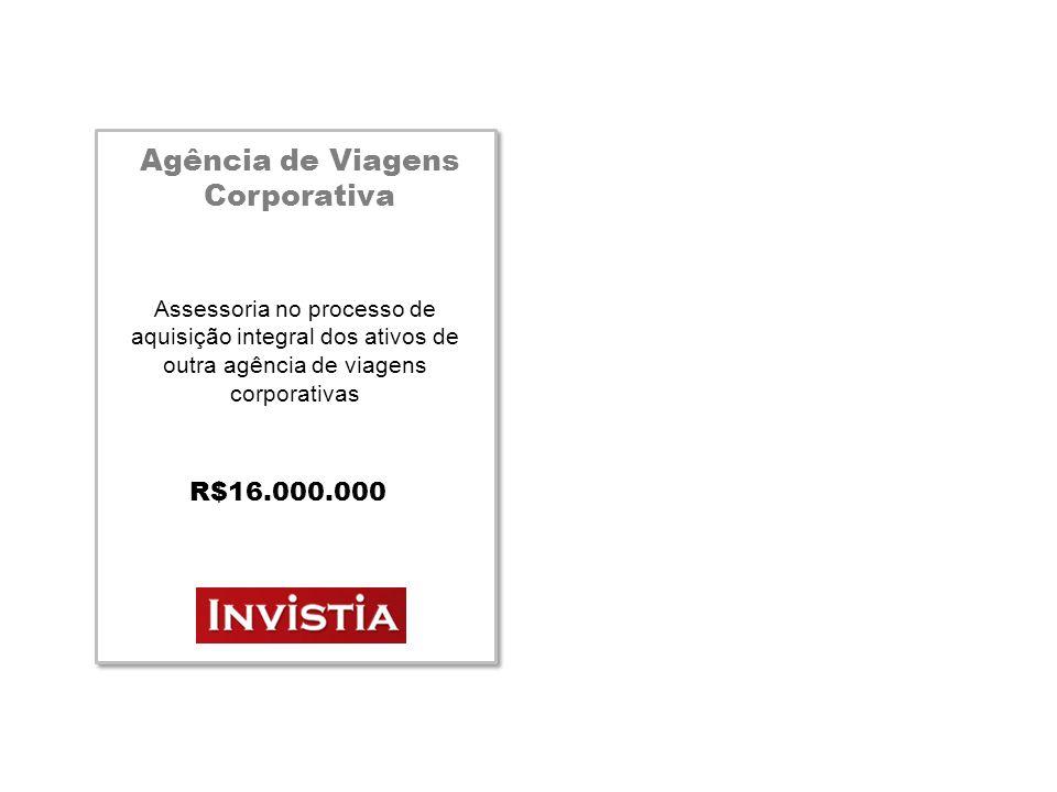 Agência de Viagens Corporativa Assessoria no processo de aquisição integral dos ativos de outra agência de viagens corporativas R$16.000.000