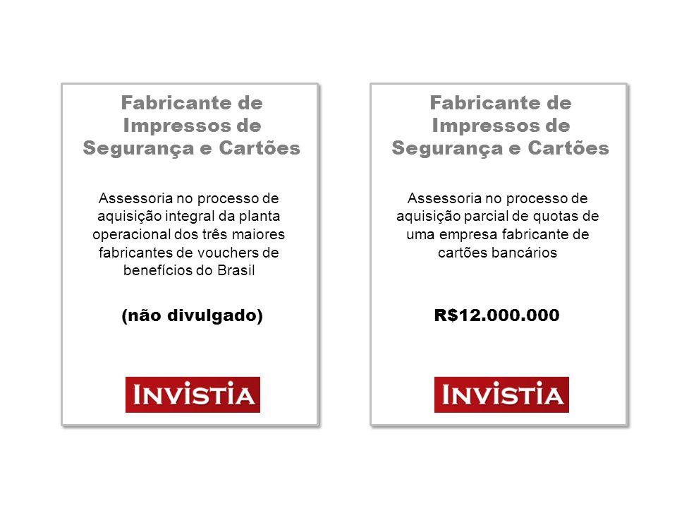 Fabricante Têxtil Chinês Assessoria no processo de constituição de uma filial no interior do Estado de São Paulo (não divulgado) Agência de Viagens Corporativa Assessoria no processo de aquisição integral dos ativos de outra agência de viagens corporativas R$16.000.000