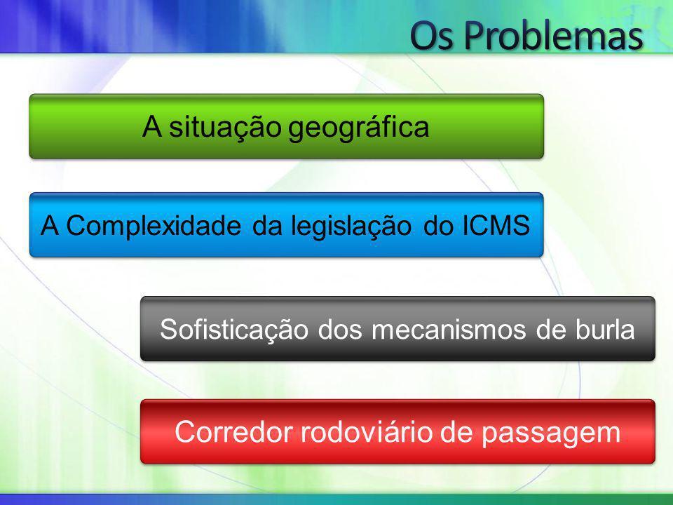 A situação geográfica A Complexidade da legislação do ICMS Sofisticação dos mecanismos de burla Corredor rodoviário de passagem