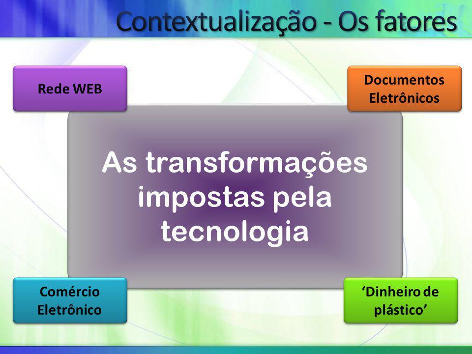 As transformações impostas pela tecnologia Rede WEB Documentos Eletrônicos Comércio Eletrônico 'Dinheiro de plástico'
