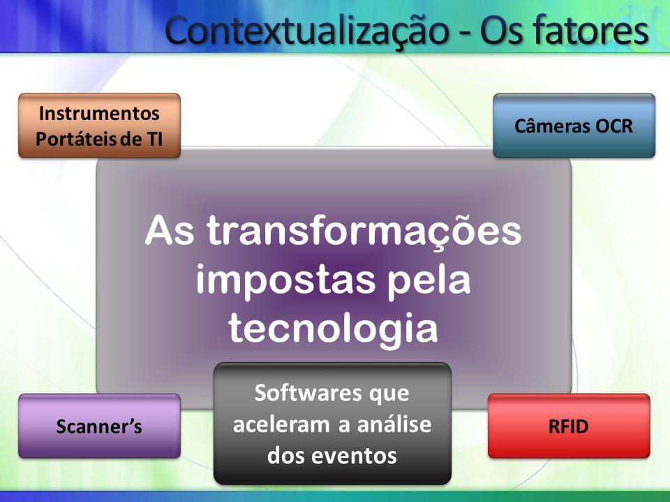 As transformações impostas pela tecnologia Instrumentos Portáteis de TI Câmeras OCR Scanner's RFID Softwares que aceleram a análise dos eventos