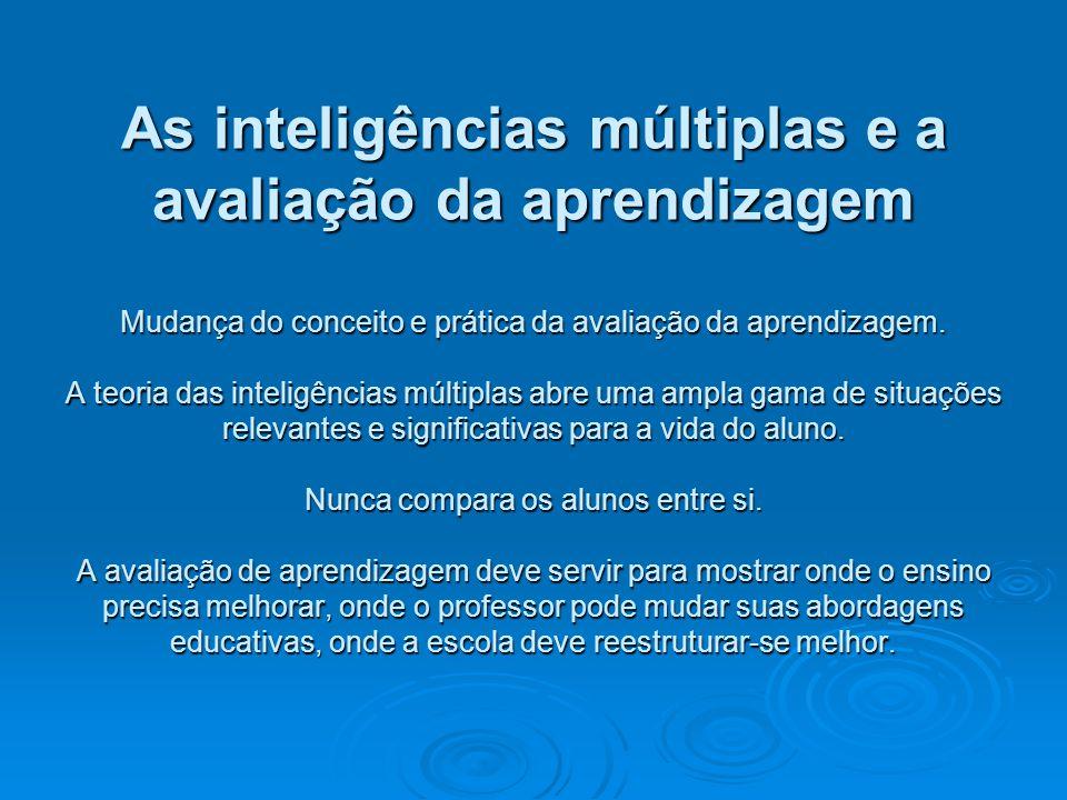 As inteligências múltiplas e a avaliação da aprendizagem Mudança do conceito e prática da avaliação da aprendizagem. A teoria das inteligências múltip