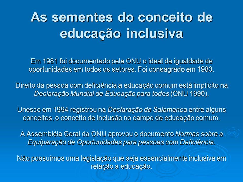 As sementes do conceito de educação inclusiva Em 1981 foi documentado pela ONU o ideal da igualdade de oportunidades em todos os setores. Foi consagra
