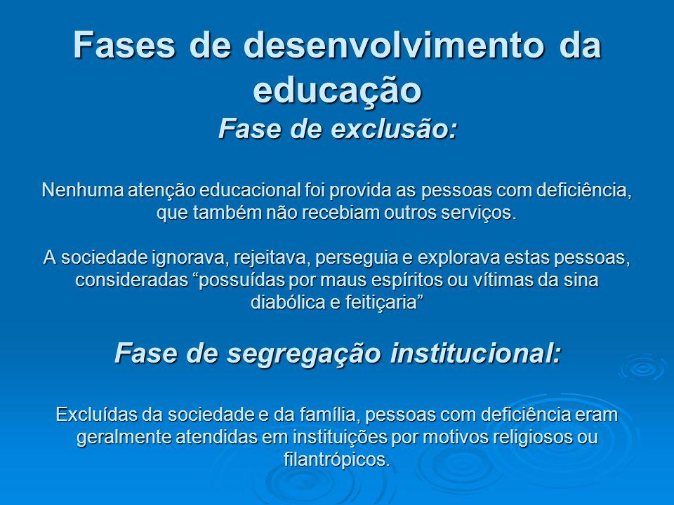 Fases de desenvolvimento da educação Fase de exclusão: Nenhuma atenção educacional foi provida as pessoas com deficiência, que também não recebiam out