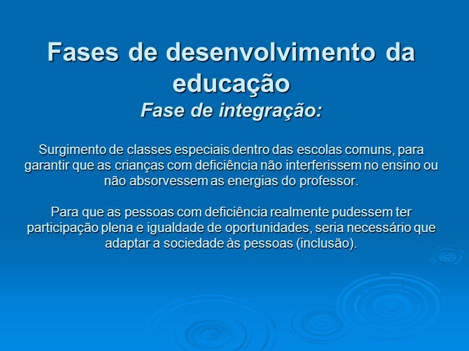 Fases de desenvolvimento da educação Fase de integração: Surgimento de classes especiais dentro das escolas comuns, para garantir que as crianças com