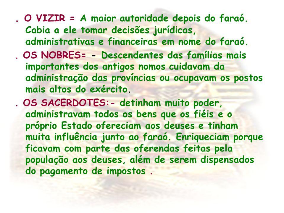 . O VIZIR = A maior autoridade depois do faraó. Cabia a ele tomar decisões jurídicas, administrativas e financeiras em nome do faraó.. OS NOBRES= - De
