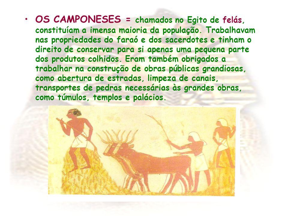 OS CAMPONESES = chamados no Egito de felás, constituíam a imensa maioria da população. Trabalhavam nas propriedades do faraó e dos sacerdotes e tinham