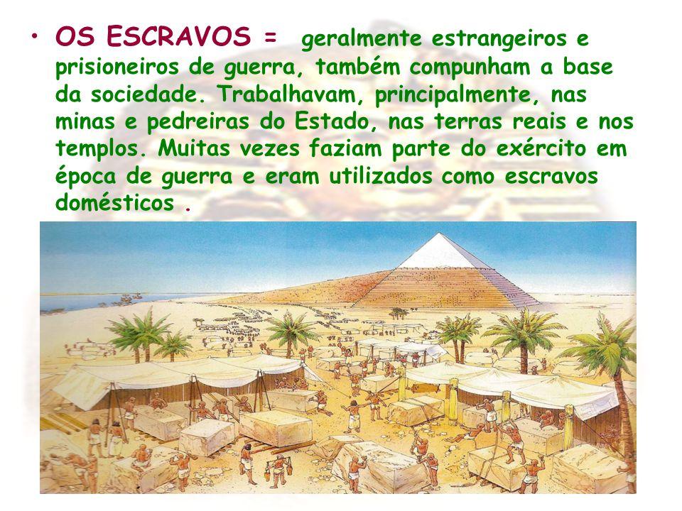 OS ESCRAVOS = geralmente estrangeiros e prisioneiros de guerra, também compunham a base da sociedade. Trabalhavam, principalmente, nas minas e pedreir