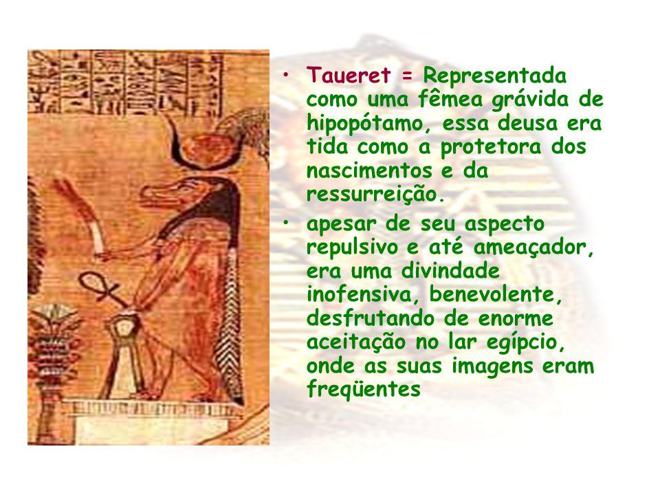 Taueret = Representada como uma fêmea grávida de hipopótamo, essa deusa era tida como a protetora dos nascimentos e da ressurreição. apesar de seu asp