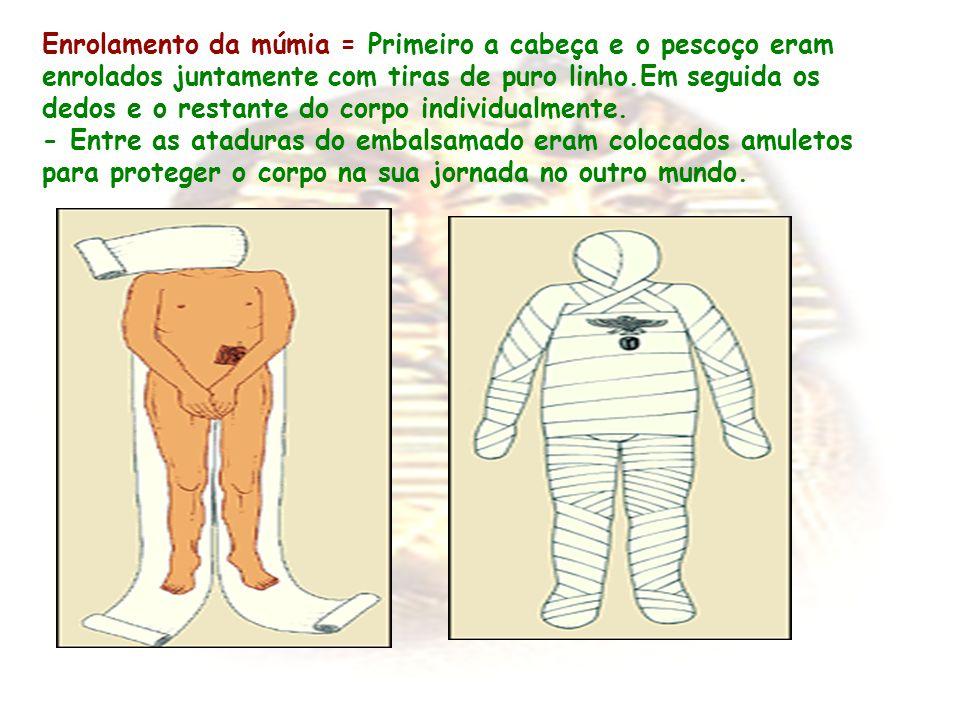 Enrolamento da múmia = Primeiro a cabeça e o pescoço eram enrolados juntamente com tiras de puro linho.Em seguida os dedos e o restante do corpo indiv