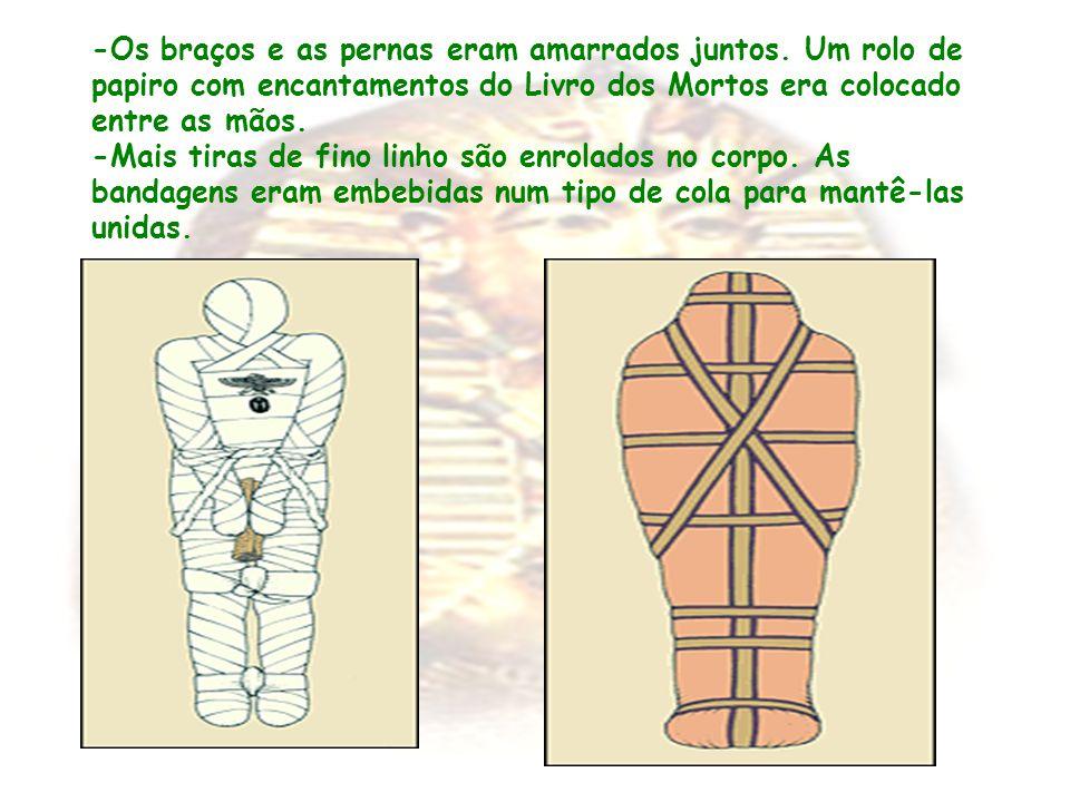 -Os braços e as pernas eram amarrados juntos. Um rolo de papiro com encantamentos do Livro dos Mortos era colocado entre as mãos. -Mais tiras de fino