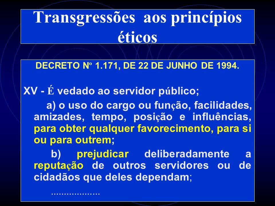 Transgressões aos princípios éticos DECRETO N º 1.171, DE 22 DE JUNHO DE 1994.