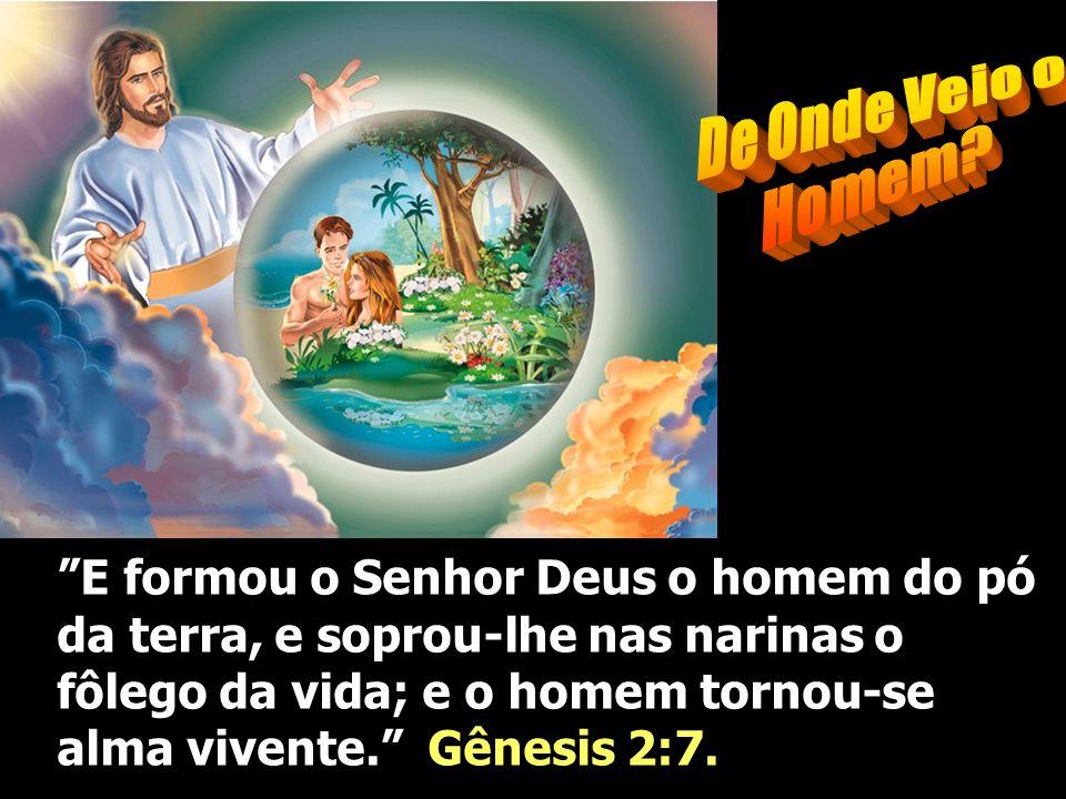 E formou o Senhor Deus o homem do pó da terra, e soprou-lhe nas narinas o fôlego da vida; e o homem tornou-se alma vivente. Gênesis 2:7.