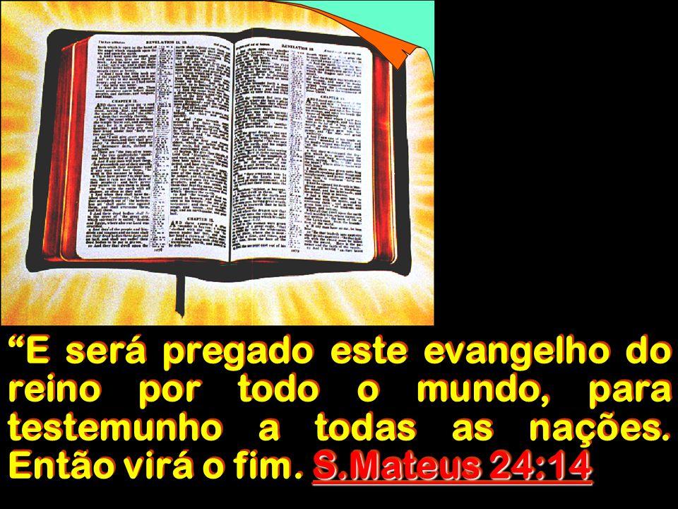 """S.Mateus 24:14 """"E será pregado este evangelho do reino por todo o mundo, para testemunho a todas as nações. Então virá o fim. S.Mateus 24:14"""
