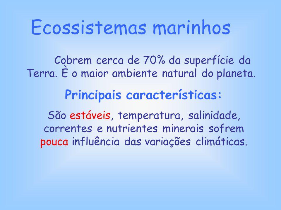 Ecossistemas marinhos Cobrem cerca de 70% da superfície da Terra. È o maior ambiente natural do planeta. Principais características: São estáveis, tem
