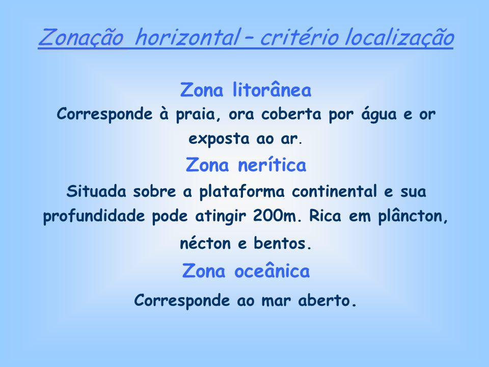 Zona litorânea Corresponde à praia, ora coberta por água e or exposta ao ar. Zona nerítica Situada sobre a plataforma continental e sua profundidade p
