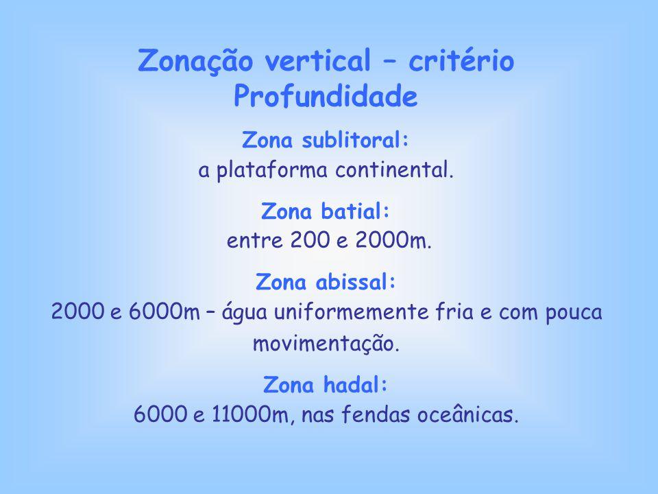 Zonação vertical – critério Profundidade Zona sublitoral: a plataforma continental. Zona batial: entre 200 e 2000m. Zona abissal: 2000 e 6000m – água