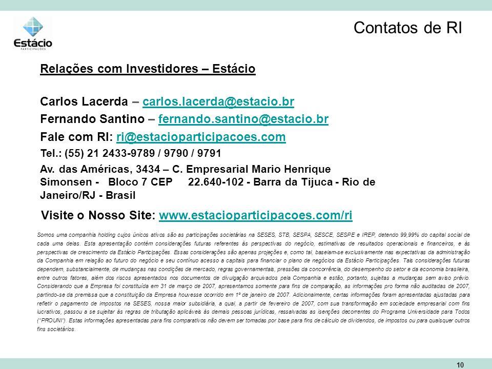 10 Contatos de RI Relações com Investidores – Estácio Carlos Lacerda – carlos.lacerda@estacio.brcarlos.lacerda@estacio.br Fernando Santino – fernando.santino@estacio.brfernando.santino@estacio.br Fale com RI: ri@estacioparticipacoes.comri@estacioparticipacoes.com Tel.: (55) 21 2433-9789 / 9790 / 9791 Av.
