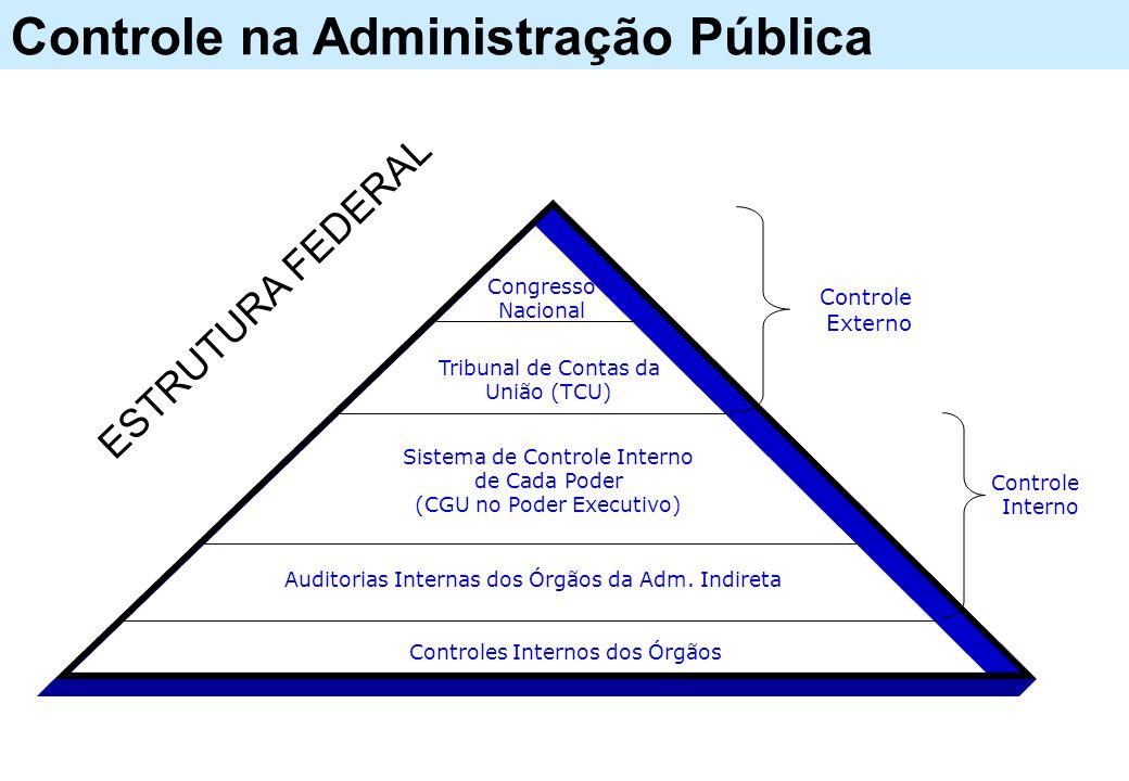 Controle na Administração Pública Controles Internos dos Órgãos Auditorias Internas dos Órgãos da Adm. Indireta Sistema de Controle Interno de Cada Po