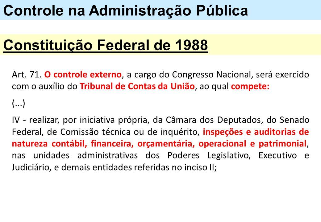 Art. 71. O controle externo, a cargo do Congresso Nacional, será exercido com o auxílio do Tribunal de Contas da União, ao qual compete: (...) IV - re