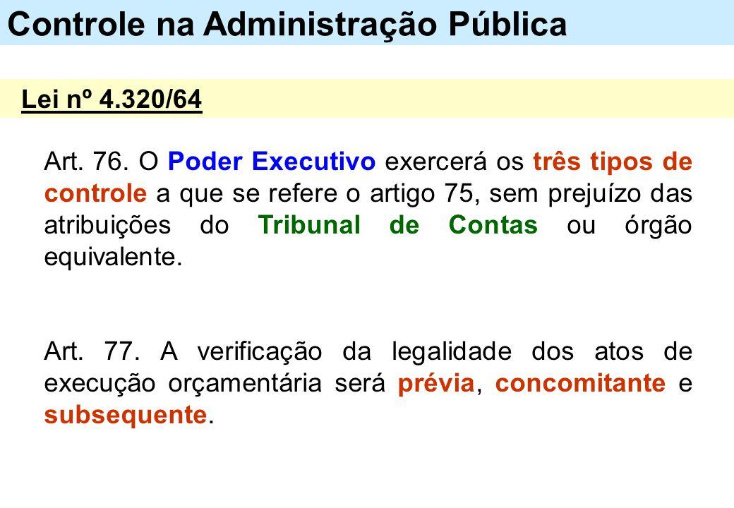 Art. 76. O Poder Executivo exercerá os três tipos de controle a que se refere o artigo 75, sem prejuízo das atribuições do Tribunal de Contas ou órgão